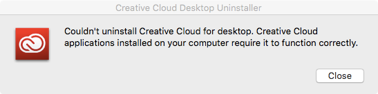 Couldn't uninstall Creative Cloud for Desktop